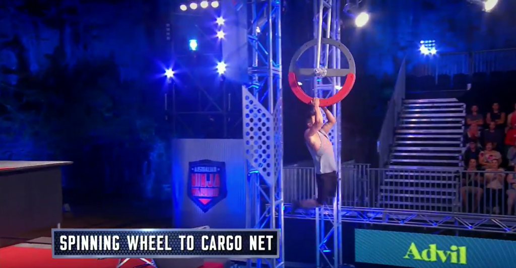 Australian Ninja Warrior Season 1 Episode 2 Spinning Wheel to Cargo Net