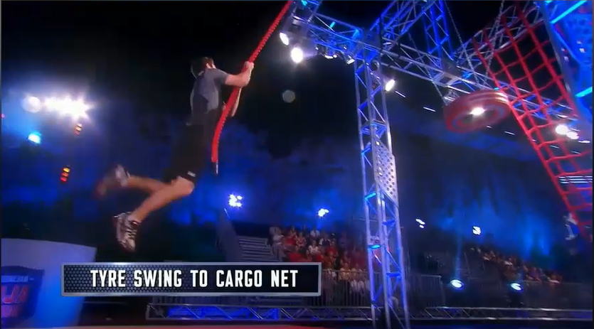 Australian Ninja Warrior Season 1 Episode 1 Tyre Swing to Cargo Net
